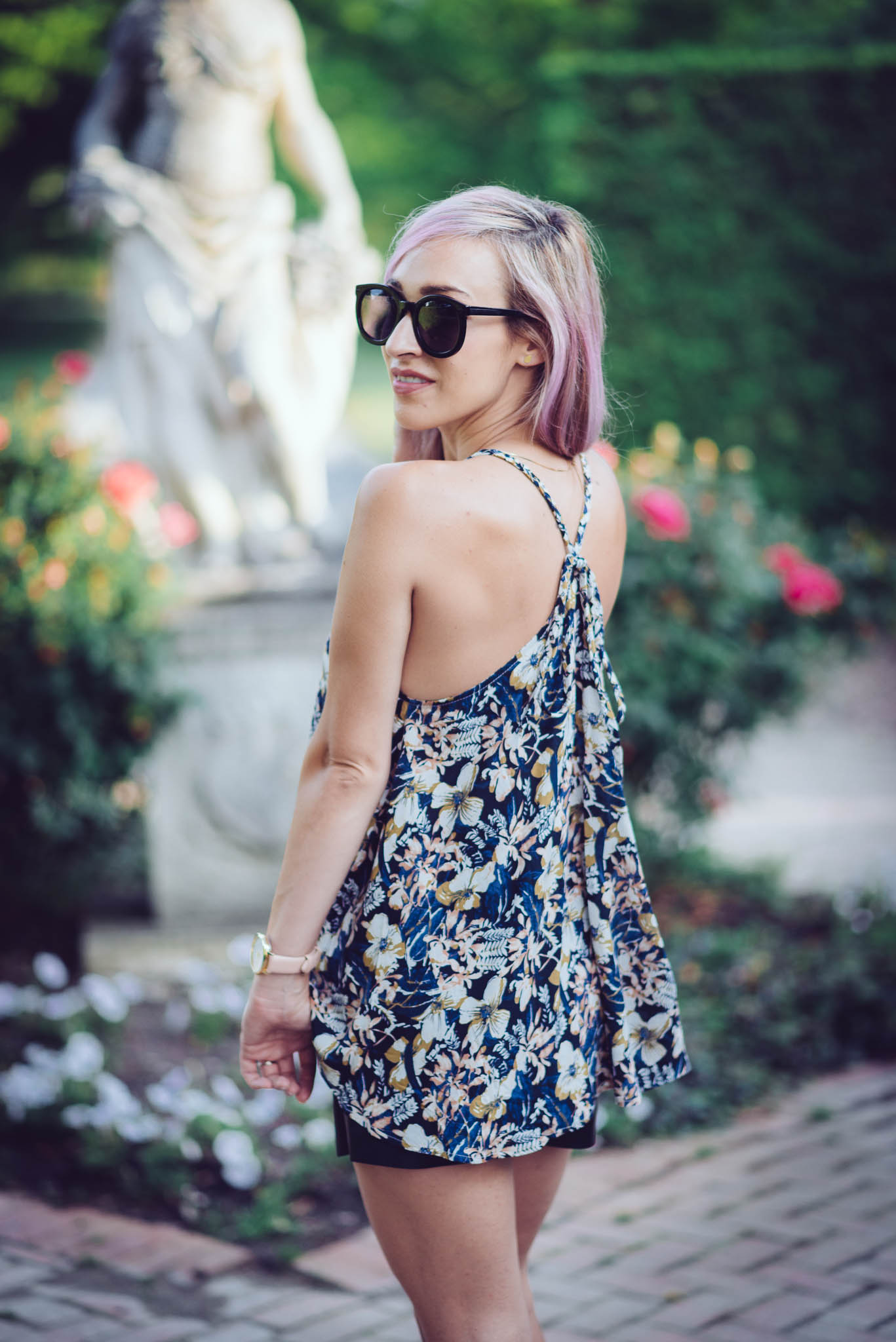 Wearing TKB   Floral Tank  & Blush  Open Toe Heel Booties