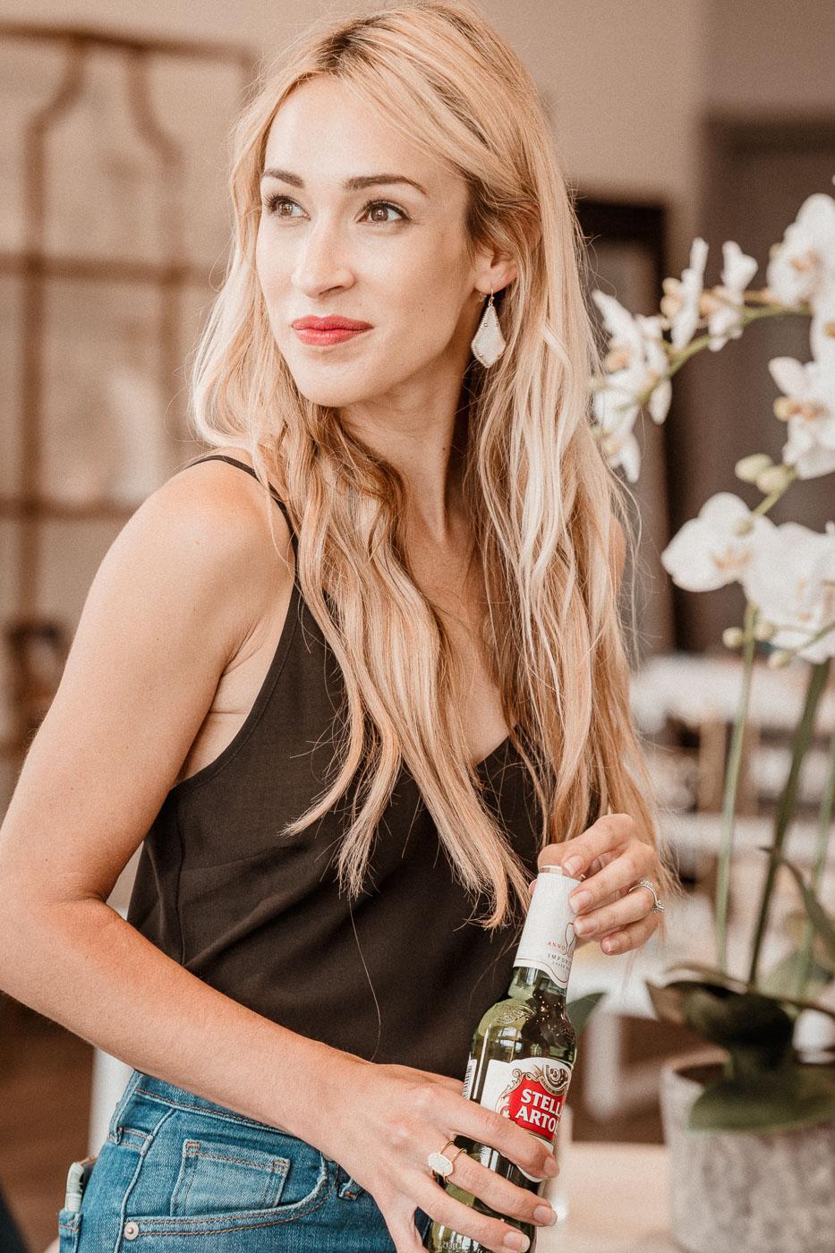 Elyse Ring, Alex Drop Gold Earrings in White Pearl