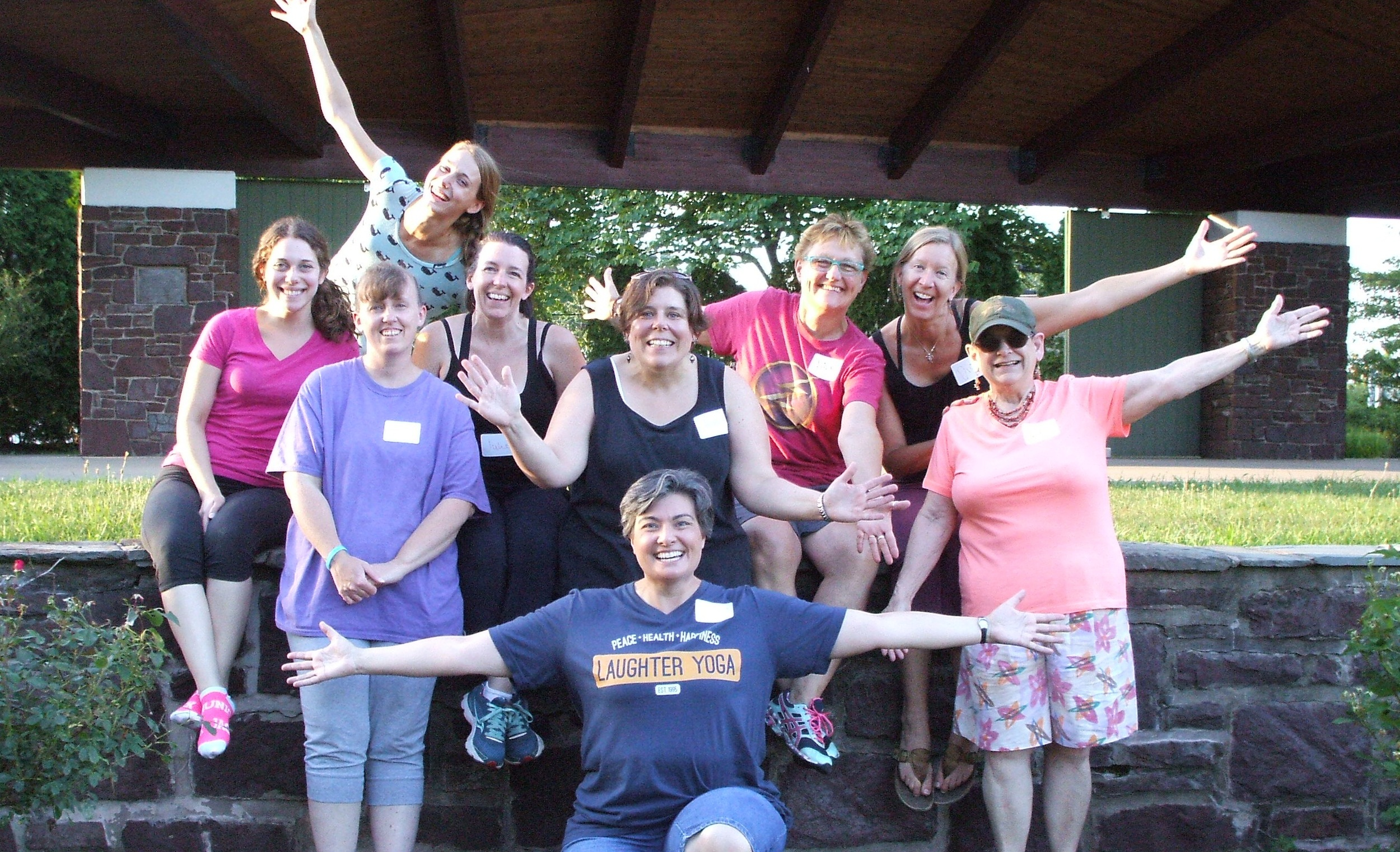 Souderton Laughter Yoga Club at Souderton Community Park in front of the bandshell