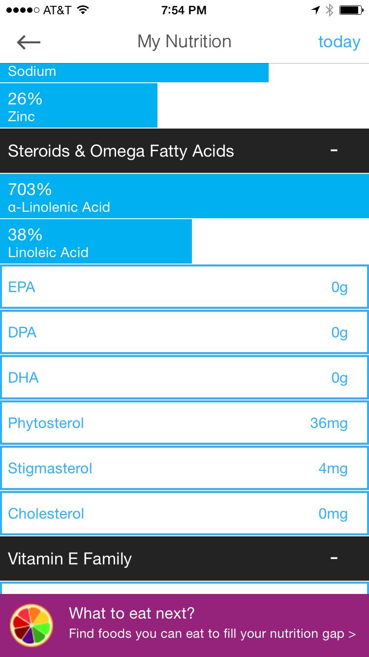 Omega 3 nutrition tracker DHA app
