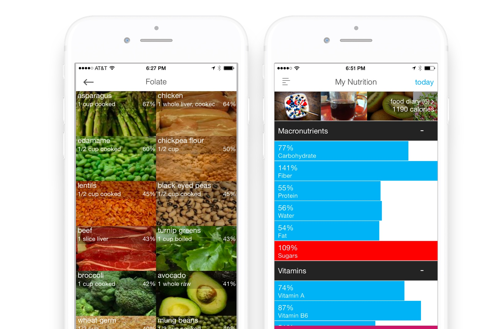 Micronutrient tracking for folate and vitamins using the Wholesome app
