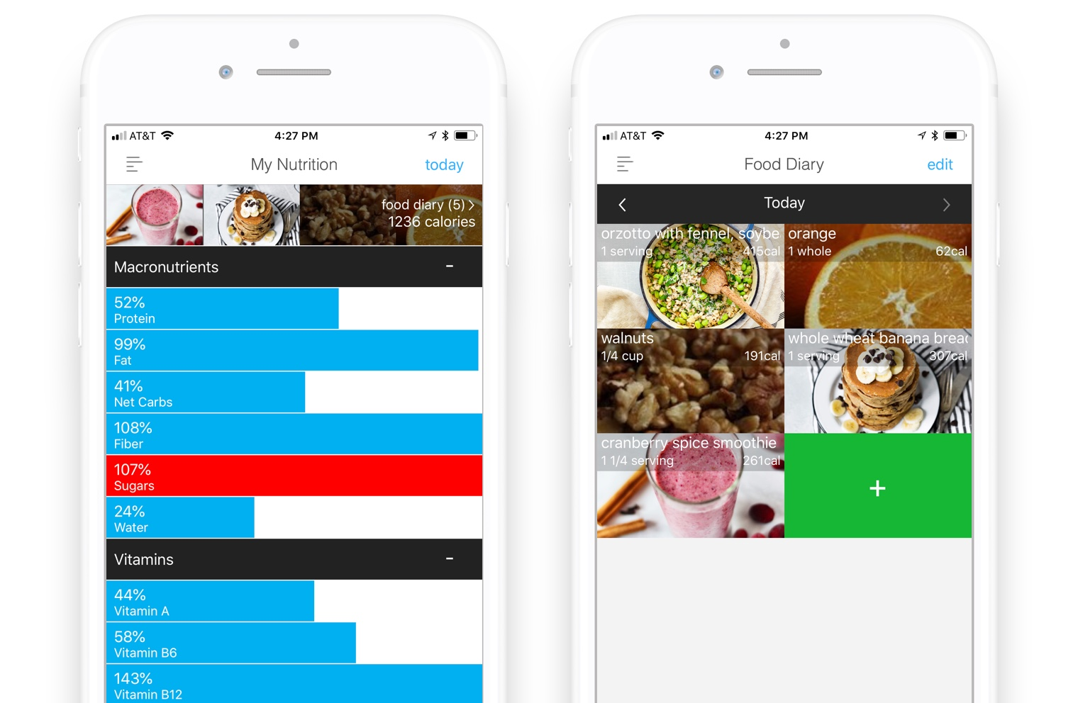 Wholesome app nutrition tracker will warn you in red when you go above your daily sugar target (left), corresponding food diary (right)