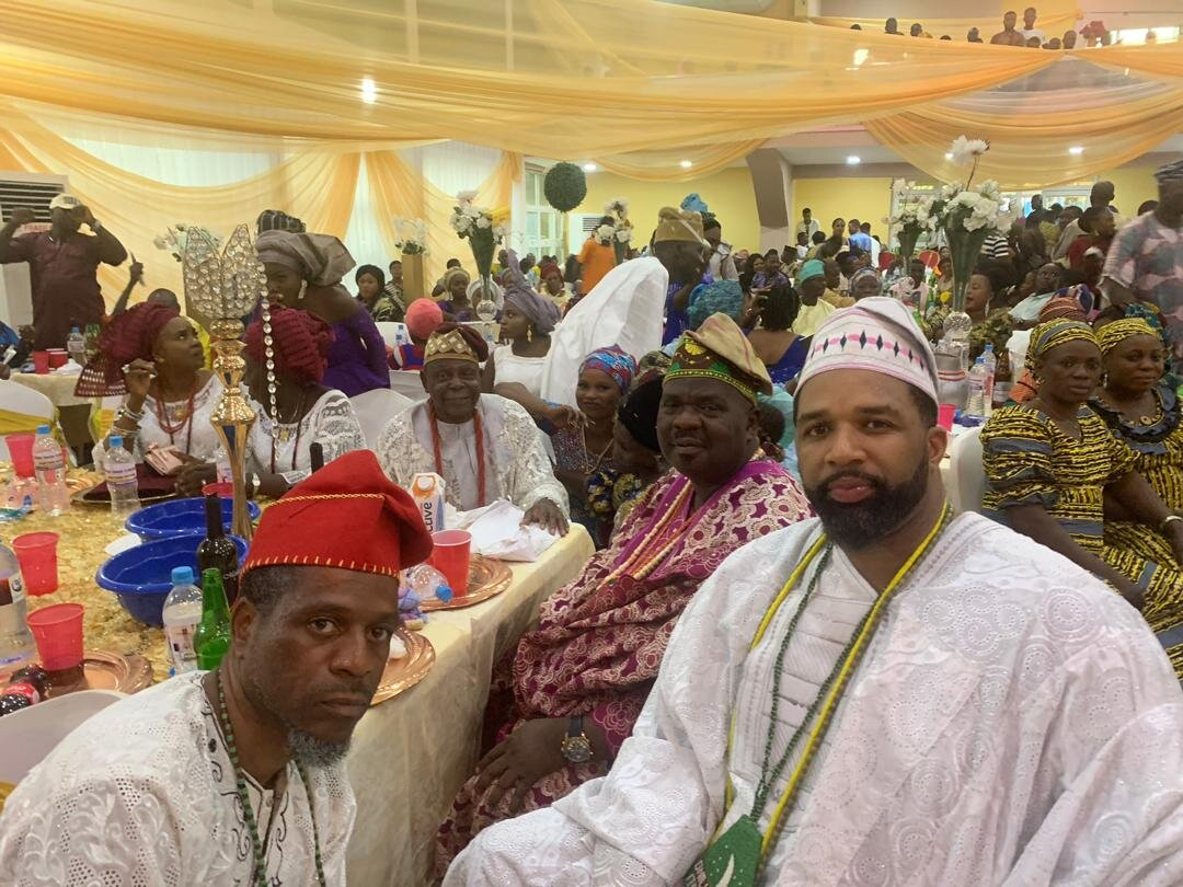 At the Ifa Festival for our Baba Araba Ifayemi Elebuibon. At the table with Baba Araba, my Oluwo Baba Agbongbon Fakayode Faniyi, and Baye Kemit. Wishing our Baba another wonderful and blessed year.