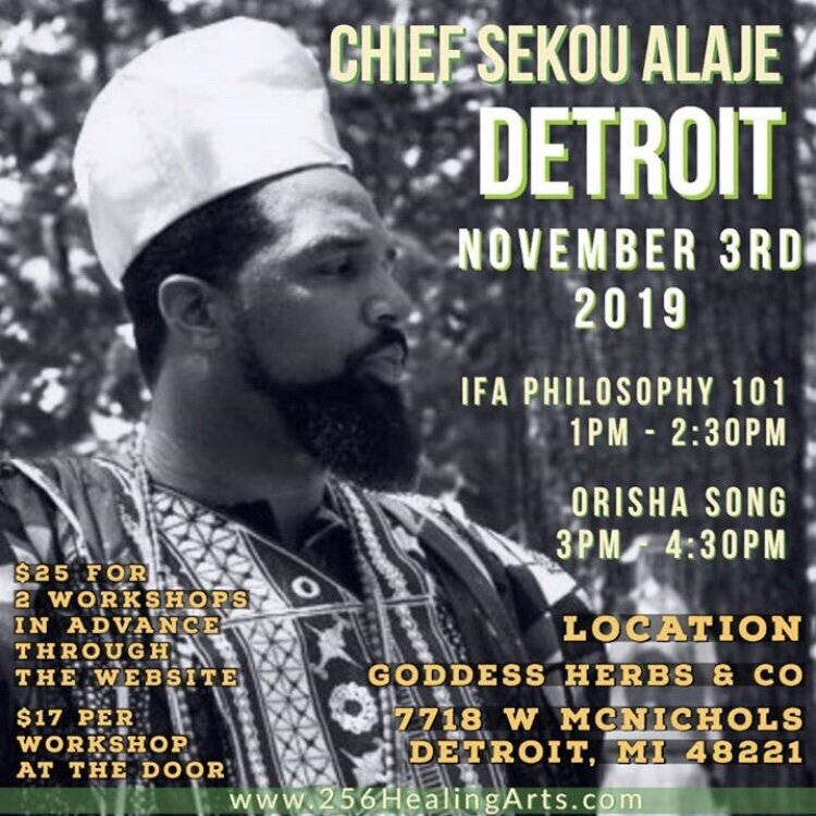 Greetings Detroit!! I'll be coming back again. Come out to our workshops and if you need Ifa or Orisa spiritual work contact me. Ifa gbe wa o  www.256HealingArts.com