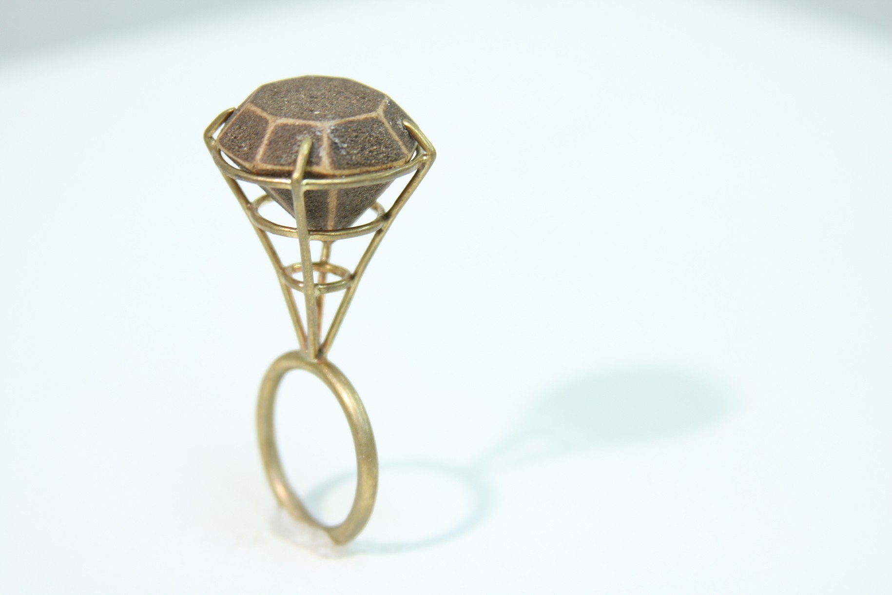 Elevated Gem,  2012, Red brass, basswood and earth