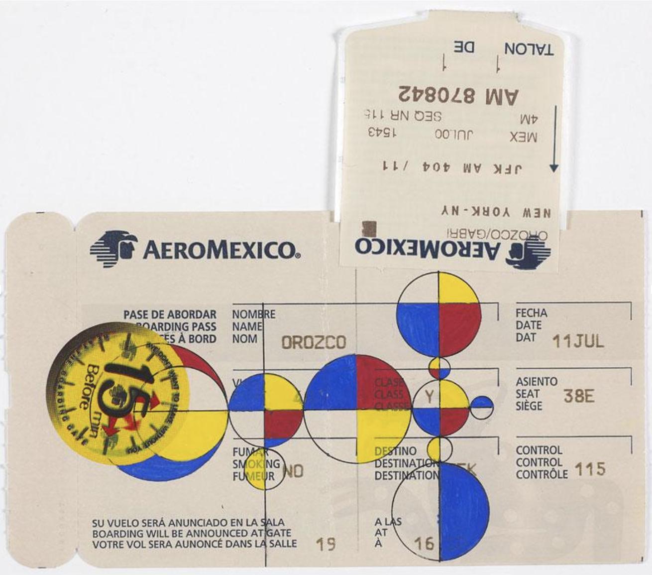 Gabriel Orozco,  (Untitled) Boarding Pass July 11  (2001) Gouache on paper boarding pass 3 3/8 X 7 ½ in. MOCA