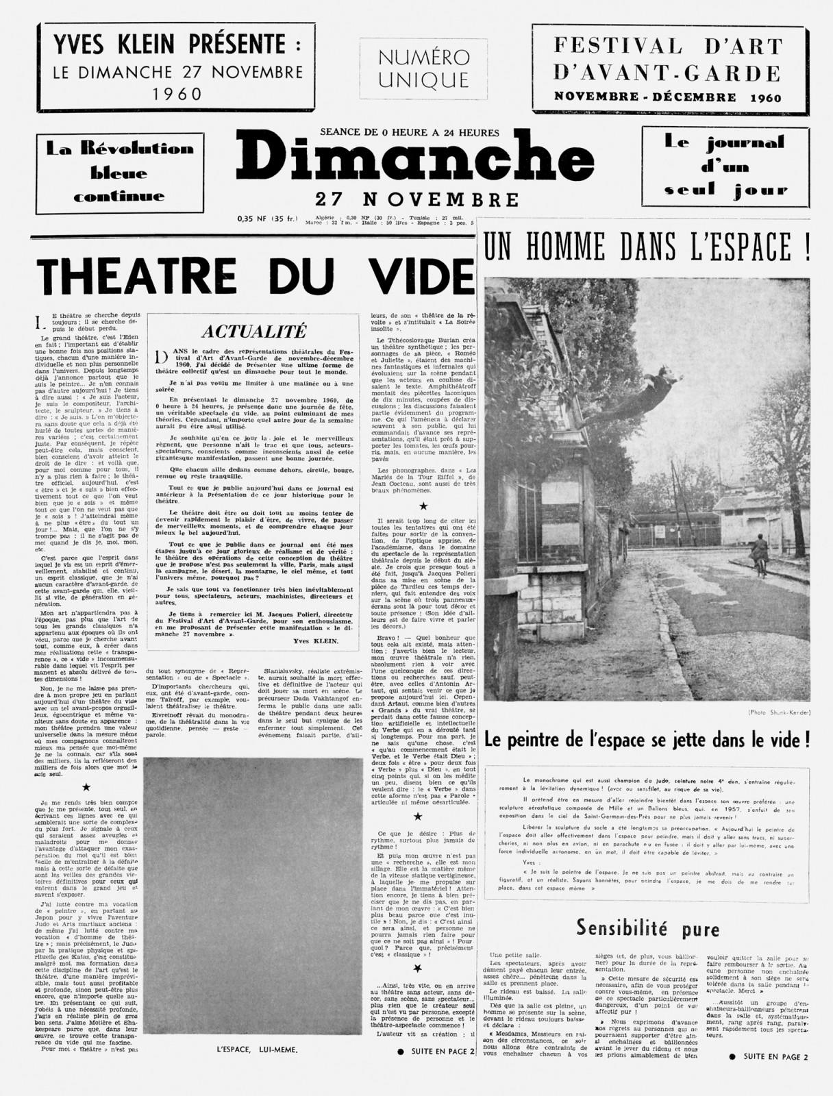 Yves Klein,  Dimanche (will exhibit all four pages)  (1960) Ink on newspaper