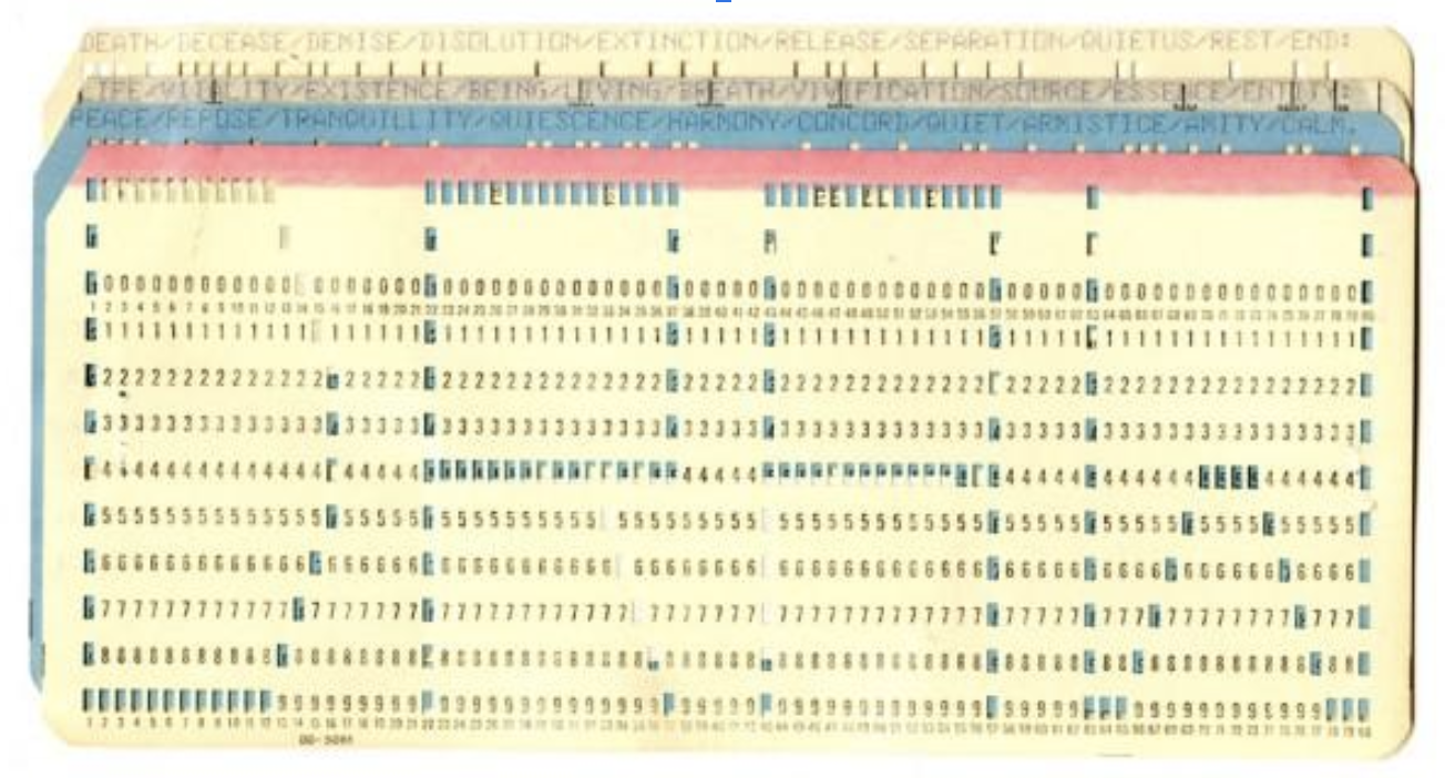 Patricia Tavenner,  Draw (Punch cards)  (1973) Typed text on payroll deduction cards, stamp, label 3 1/4 in. x 7 1/2 in. (8.26 cm x 19.05 cm) SFMOMA