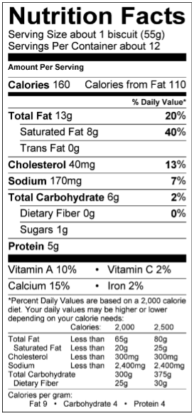 Nutritional Info — Callie's Charleston