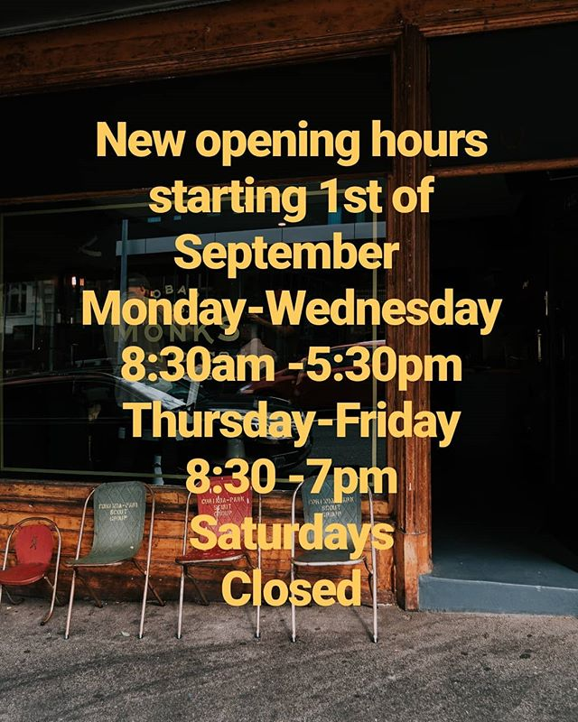 Has some of you may already know, were having a shift in opening hours.  Starting next week will be open open Monday- Wednesday 8:30am till 5:30pm Thursday & friday 8:30am-7pm closed Saturdays  #monksandco #barbers #barbershop #hobarthair #oldworldidealsnewworldideas #tasmania #traditionalbarber #aussiemasterbarbers #worklifebalance #mentalhealth #supportlocal