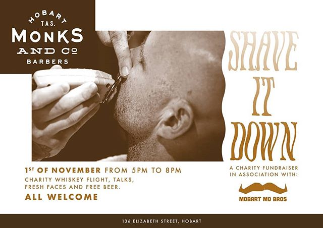 "The barbershop has always been a big part of the community and here at Monks & Co we continue that tradition . Coming to our 4th year of operating and 3rd year as members of Mobart Mobros, were looking to the future of mens health and community care.  Organising another ""Shave It Down"" great night of community spirit, education  support and fun. We hope too see you there! You dont and find the event via the link in our bio #monksandco #barber #barbershop #hobarthair #oldworldidealsnewworldideas #beyondblue #binthestigma #menshealth #mobartmobros #communityspirit #movember #stopmendyingtoyoung #charityparty #shavedown #mates"