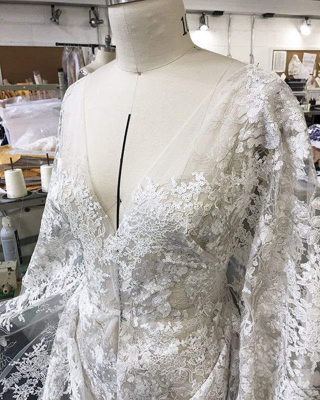 Sneaking a peek behind the scenes at one of our newest gowns for 2020 being born... Just wait til you see the finished gown! Her name is Paloma and we are already soooo in love with her 💖