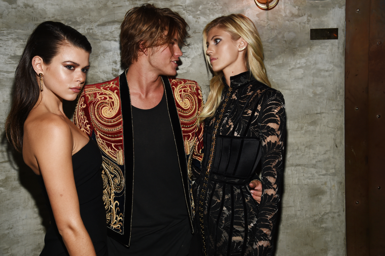 Gerogia Fowler, Jordan Barrett, and Devon Windsor at Gilded Lily 2016 Met Gala Balmain After Party
