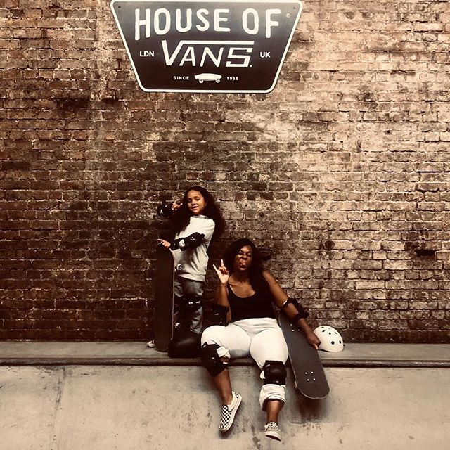 Hanging out today with one of our favourite brands @vans_europe @houseofvansldn ! Well this is probably hands down one of the coolest things I've ever done, learning how to skateboard with my 6 year old !! It was so much fun from start to finish and yes I did fall on my 🍑🤦🏾♀️ but moments like this I wouldn't change for the world 😂 As you know I'm a huge @vans_europe fan ! Think circa  @onedirection 2014 where I made each boy rock them religiously!!! A big thank you @vans_europe @houseofvansldn for having us it was an awesome treat !! We will be back for more skate school stay tuned 🤘🏽🤘🏽CW ❤️ xx #houseofvans #vans #coolmum #coolmom #gifted