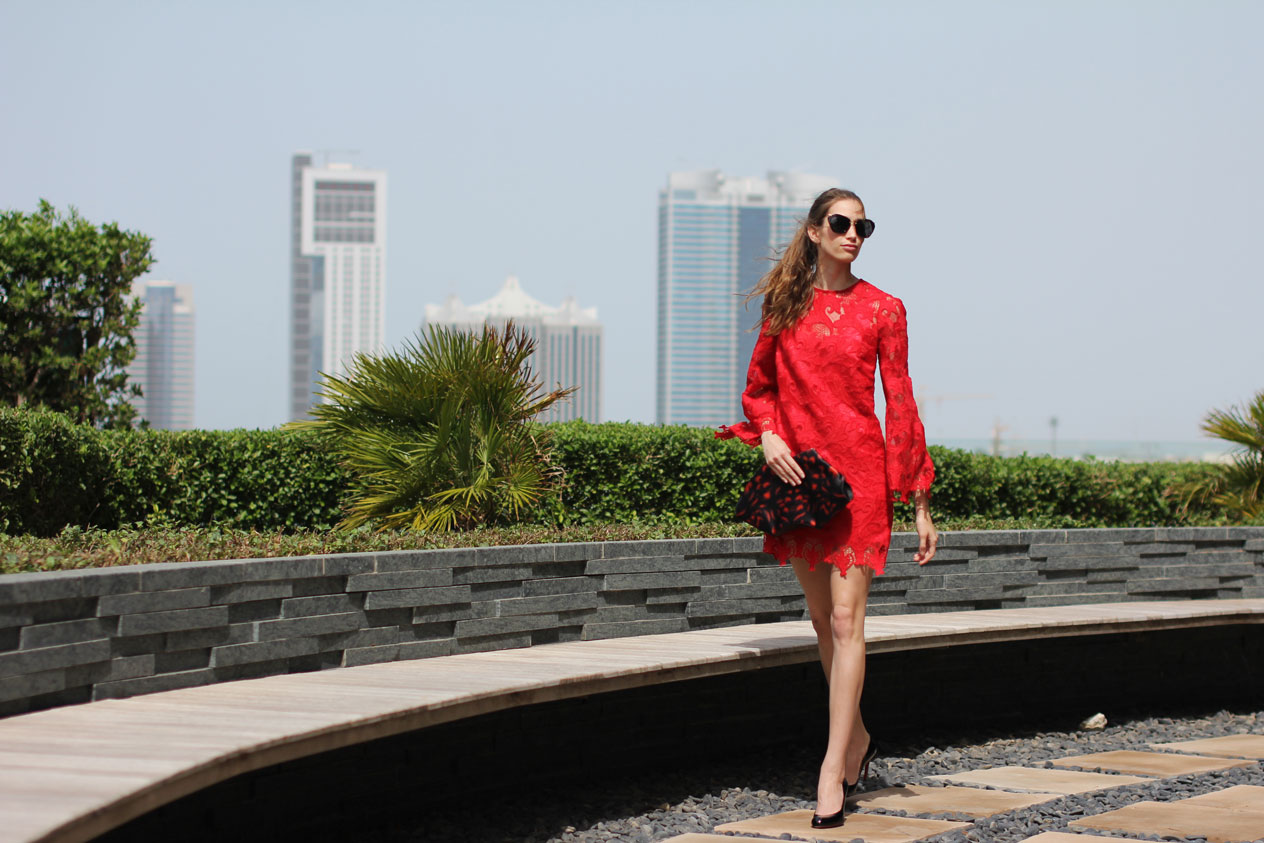 Elena Burba Red Lace Dress