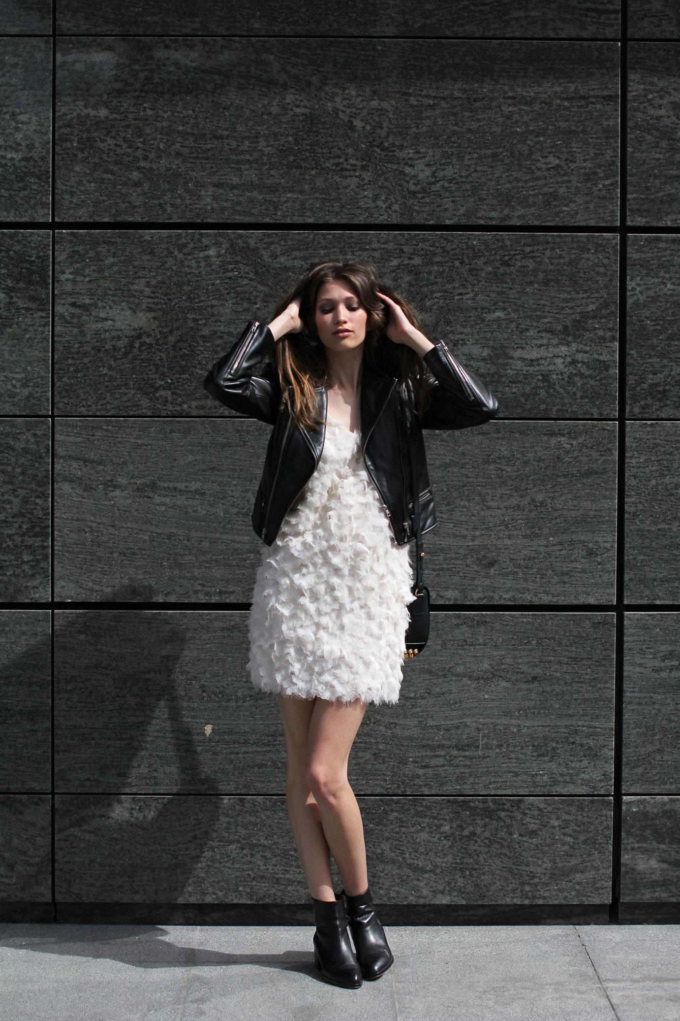 Elena Burba White Feather Dress