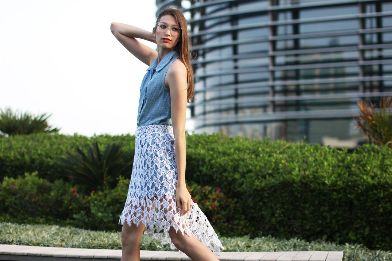 Elena Burba Blue Dress with Lace