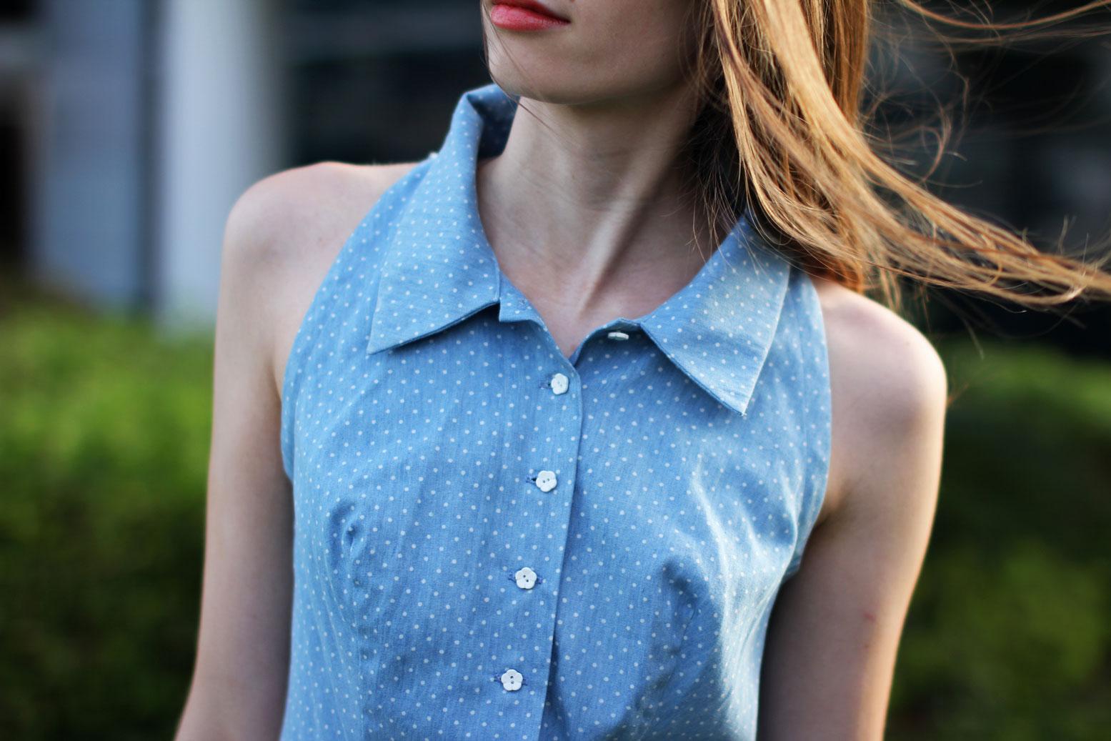 Elena Burba Blue Dress Collar