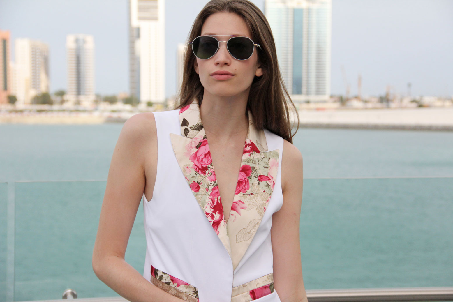 Adriana Iglesias SS16 White Floral Vest.