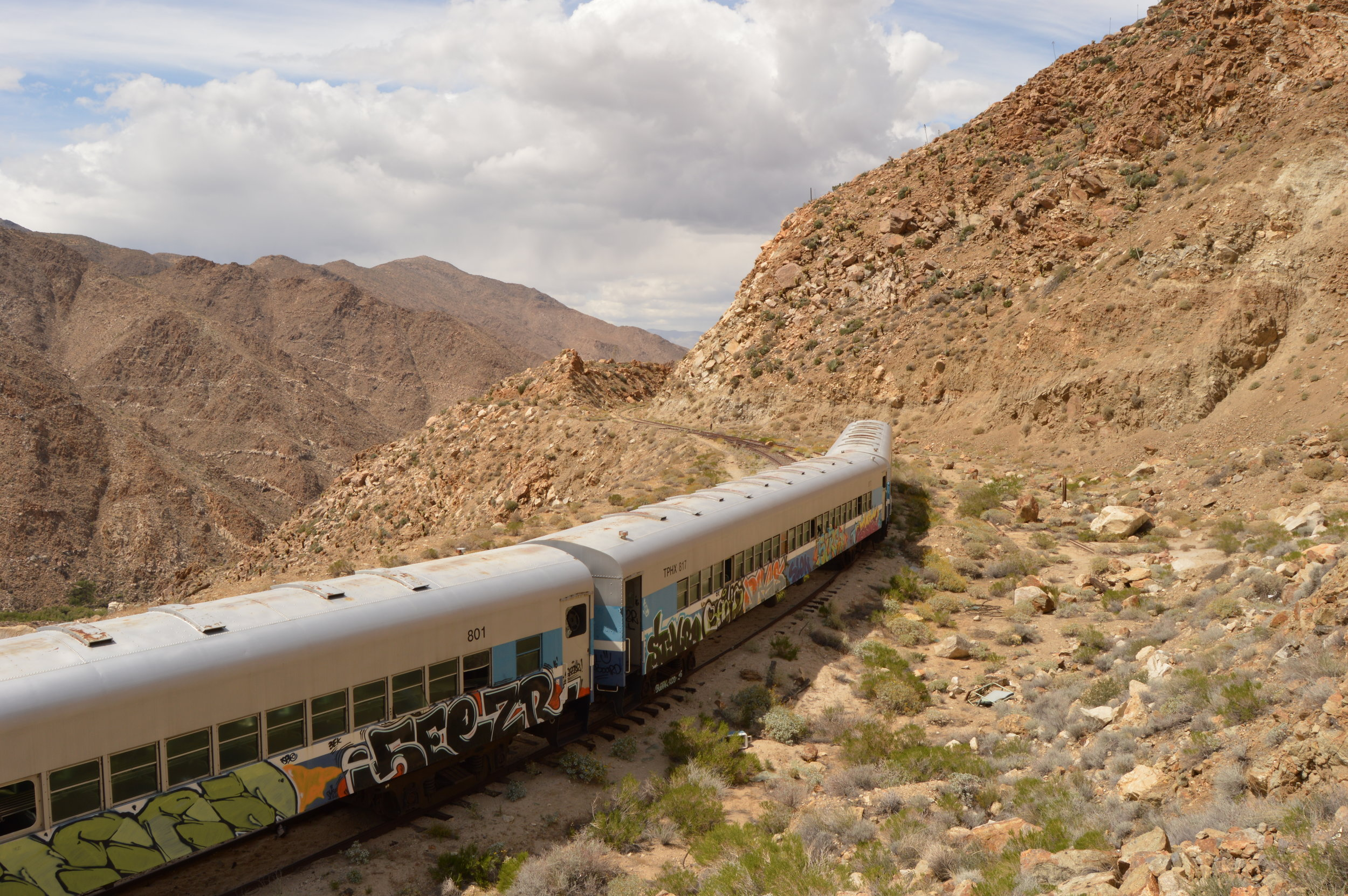 Train abandoned near the Mexican border. Photo: Joshua Stephens