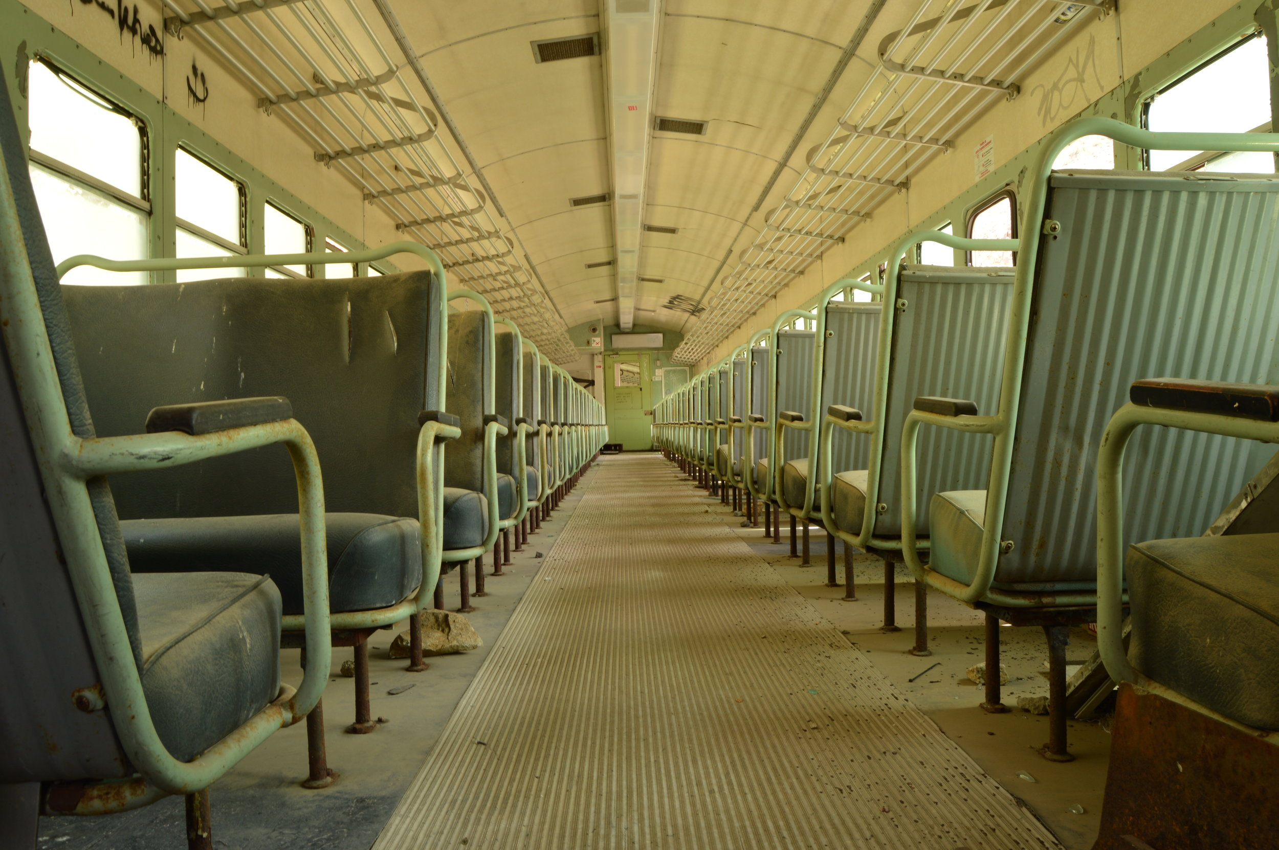 Interior of abandoned train car near Mexican border. Photo: Joshua Stephens