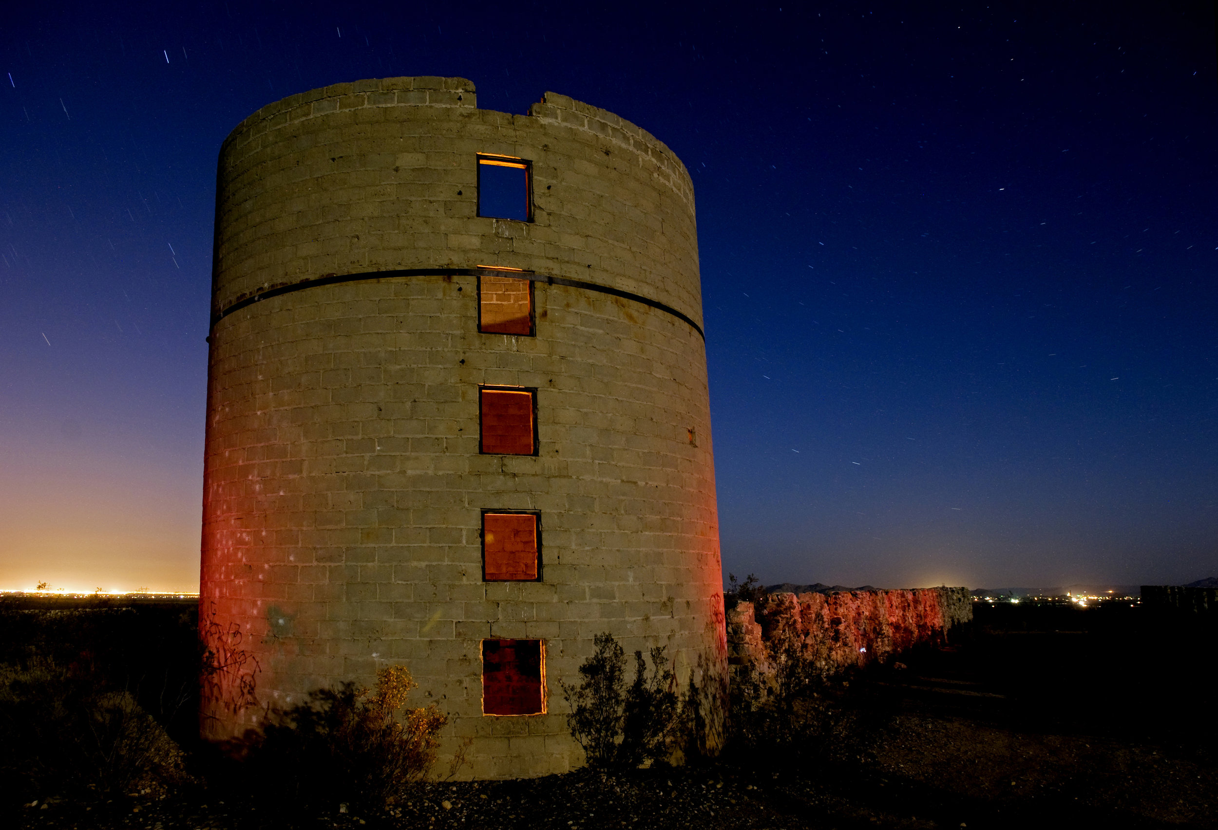 Grain tower at the ruins of Llano Del Rio, a socialist commune founded by Job Harriman, attorney and VP candidate under Eugene V. Debs,in 1914 in the Antelope Valley. Photo: Eric Rife