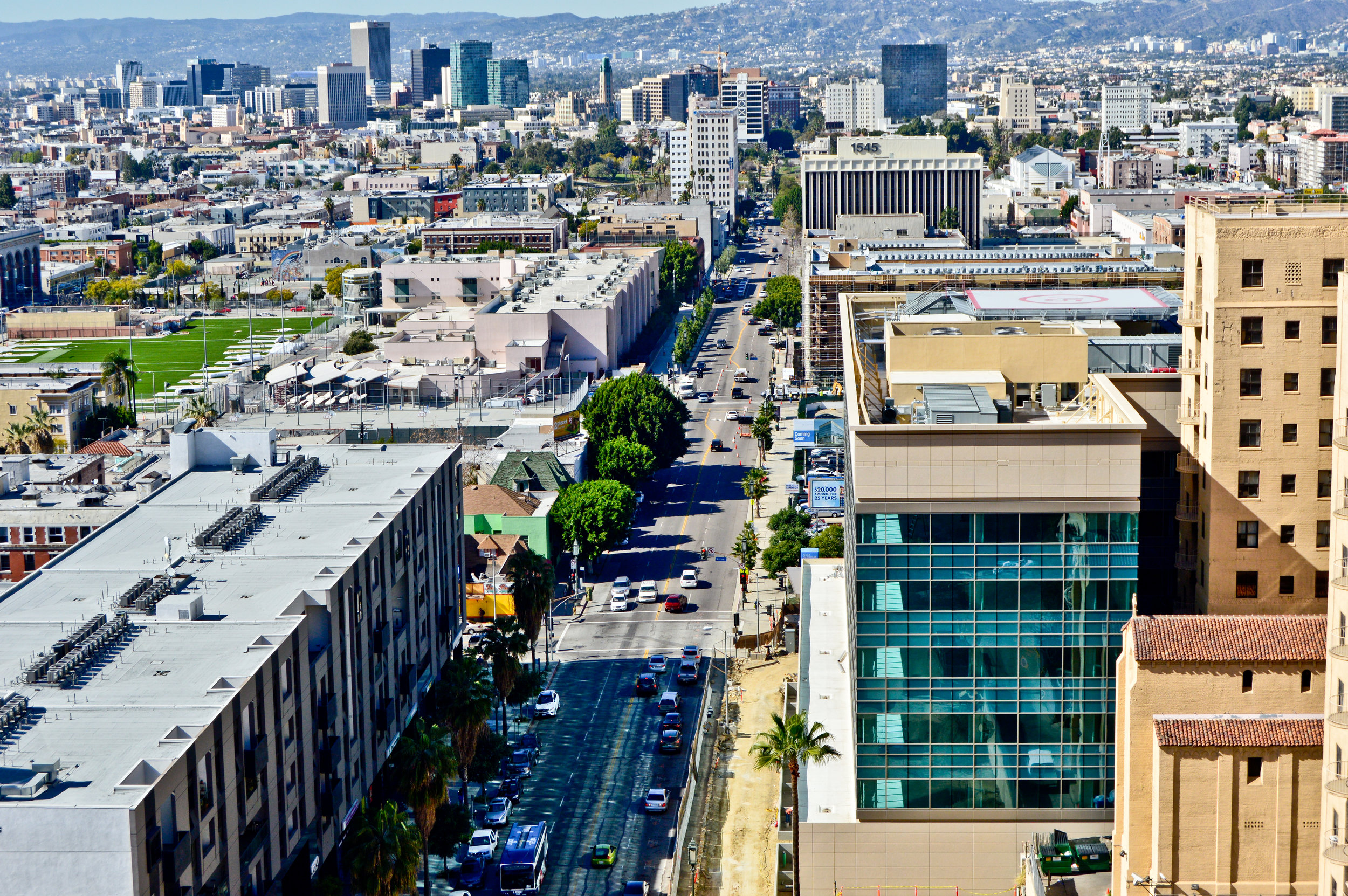 Downtown Los Angeles rooftop, looking down Wilshire to the Hollywood Hills.  Photo: Joshua Stephens