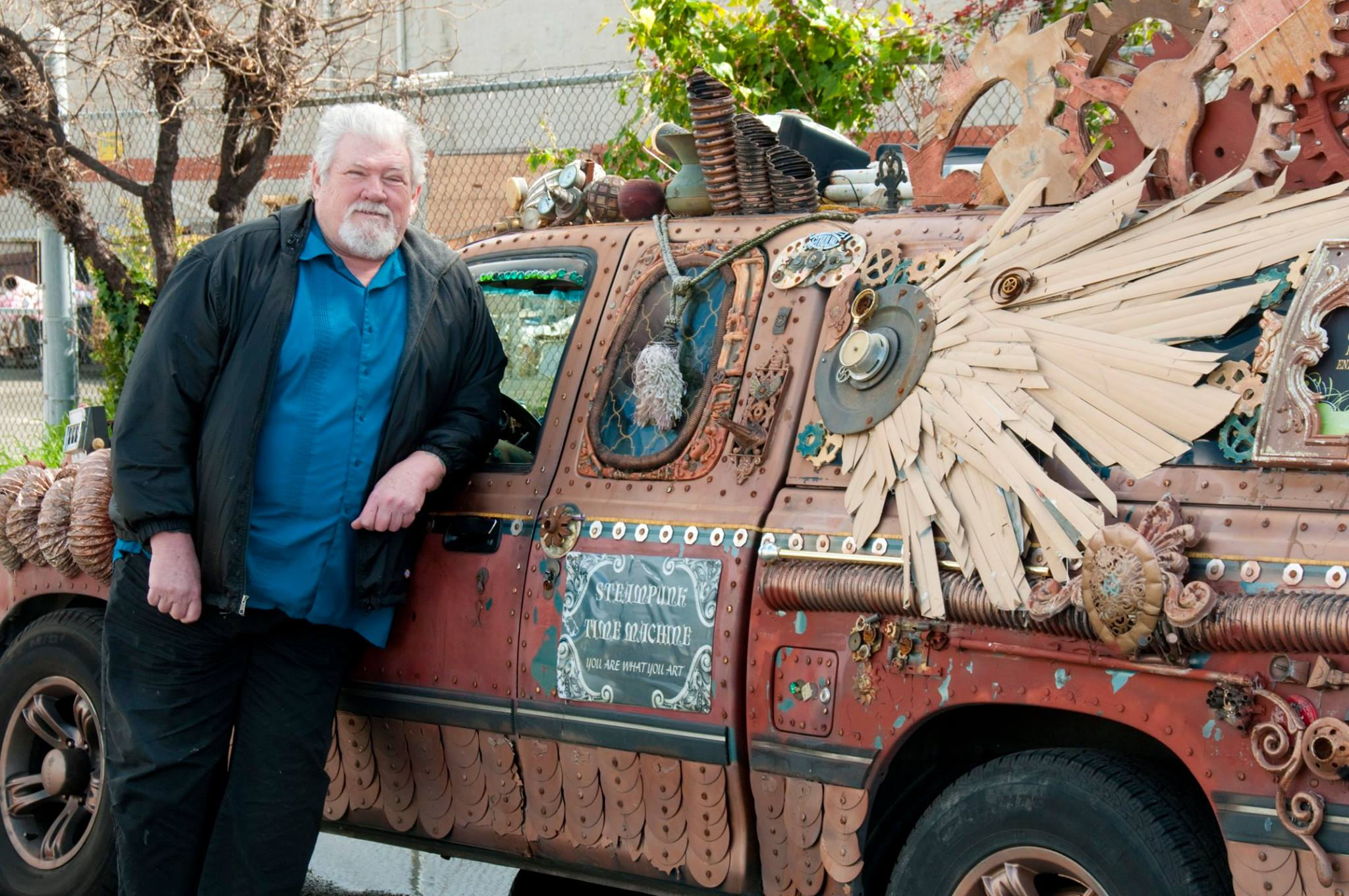 """Vehicle of Enlightenment"" by Susan Jett. Photo: Greg NettGreg ""Grego"" Nett with first steampunk inspired art car, a 1997 Toyota T100. Photo: Greg Nett"