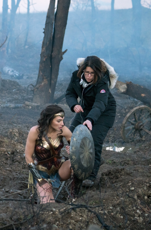Gadot (left) and Jenkins on the 'Wonder Woman' set in Leavesden, England. Photo:Warner Bros.