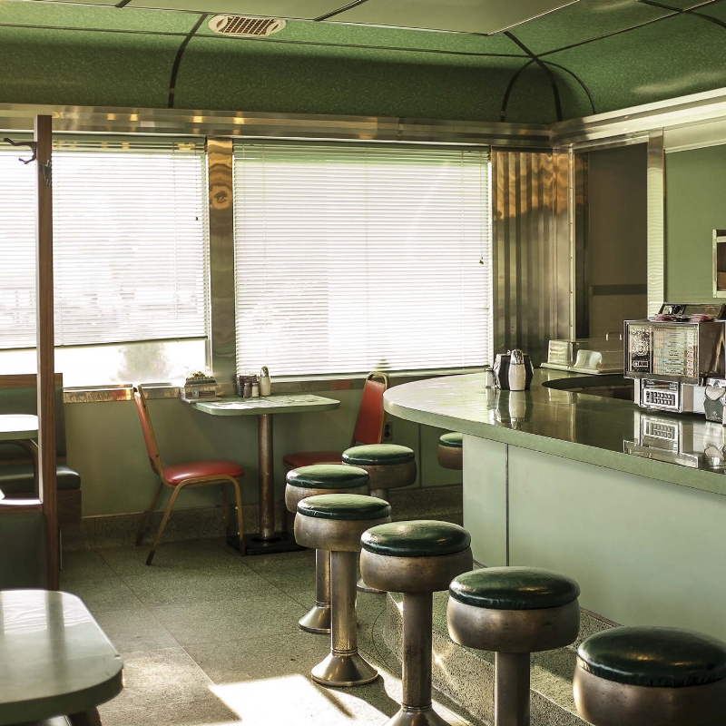 The Crossroads Diner, Belvidere, NJ. Built by the short-lived Campora Dining Car Company of Kearny, NJ, it is rumored to be the only diner the company completed. Photo: Leah Frances, @americansquares