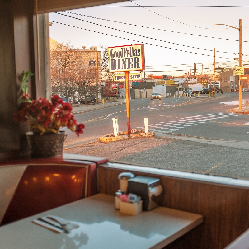 """GoodFellas Diner, Maspeth, Queens NY. Originally the Clinton Diner, the name was changed to Goodfellas after two scenes from the movie were filmed here. Opened in 1935 and renovated in 1965, it's one of the last """"truck stops"""" in greater NYC. Photo: Leah Frances, @americansquares"""