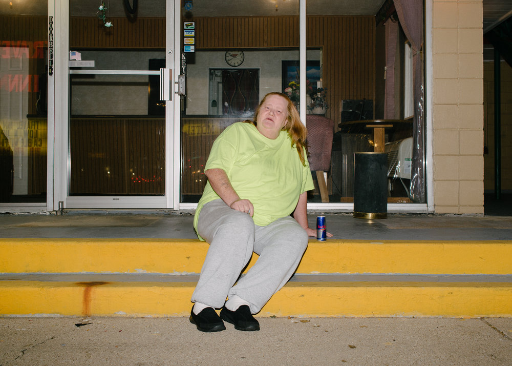"""""""Lorie,"""" night watch at the ABC Motel in Michigan City, Indiana, 2016. Photo: Tag Christof"""