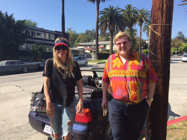 """Nothing says Hollywood like convertibles and palm trees. Here Lilly Keys (left) and Sami Knight (right) take a minute to breathe. Knight on Dua: """"I first met Dua at a lovely pool in Santa Monica, it was love at first sight!"""""""