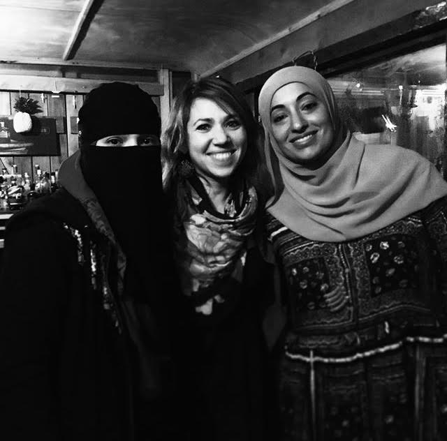 """Sari (middle) with Doaa Elkady (left) and Freda Nokaly (right), Egyptian-American muslim women from Queens who started their own small-batch organic spice company """"Spice Tree Organics"""".  Photo:  Food Without Borders ."""