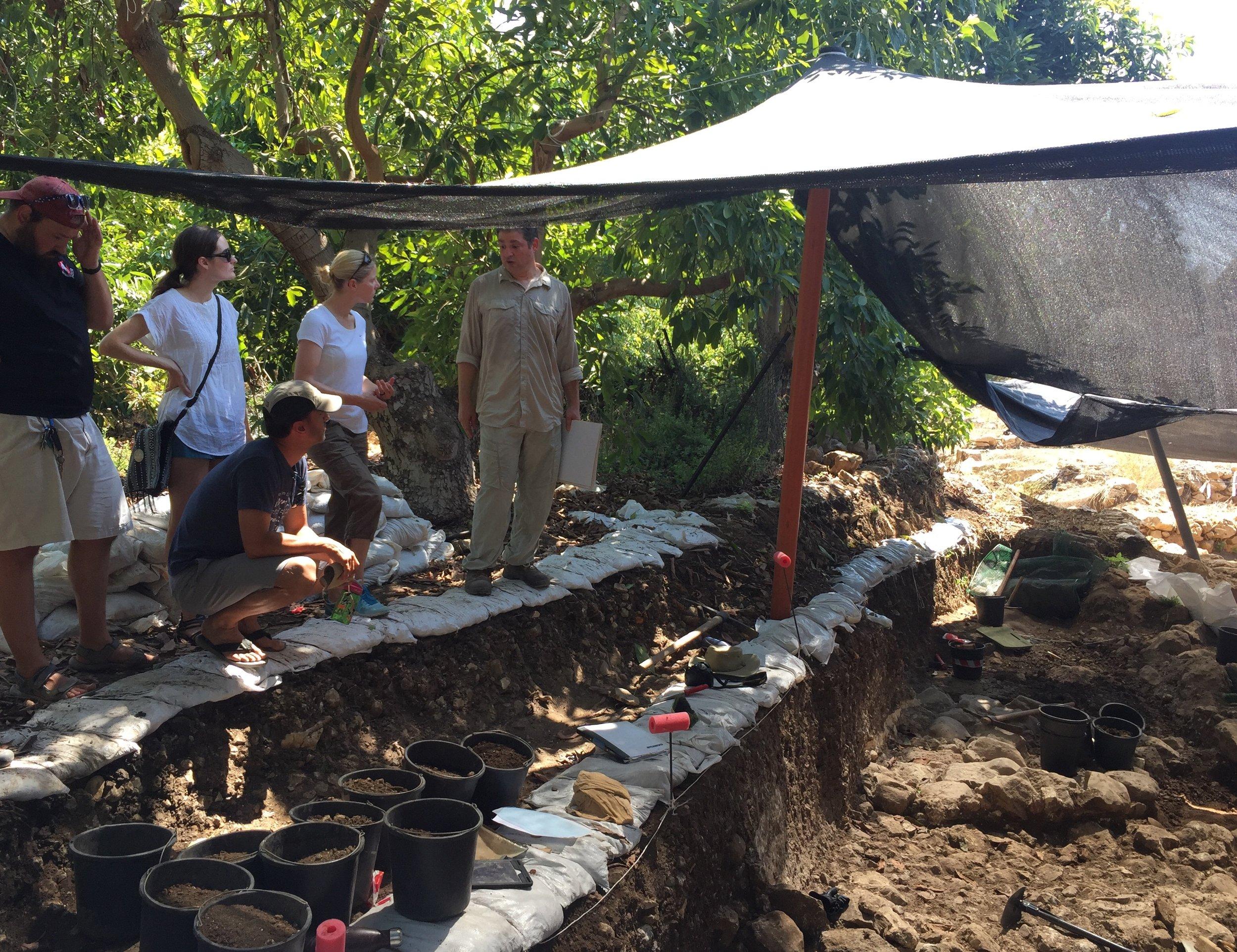 Discussing stratigraphy with Tel Kabri Co-Director Assaf Yasur-Landau