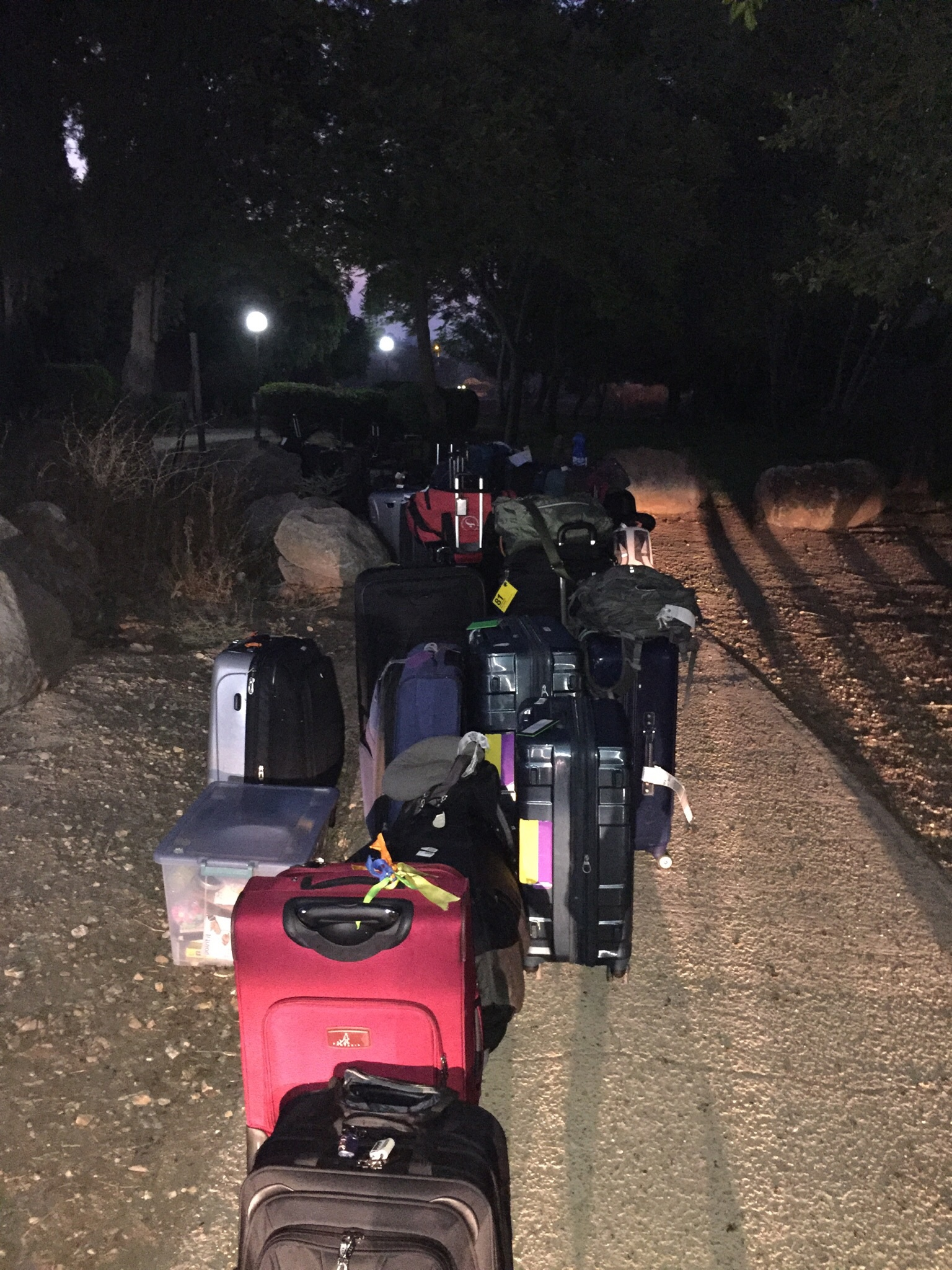 Luggage lined up and ready for the early morning move.