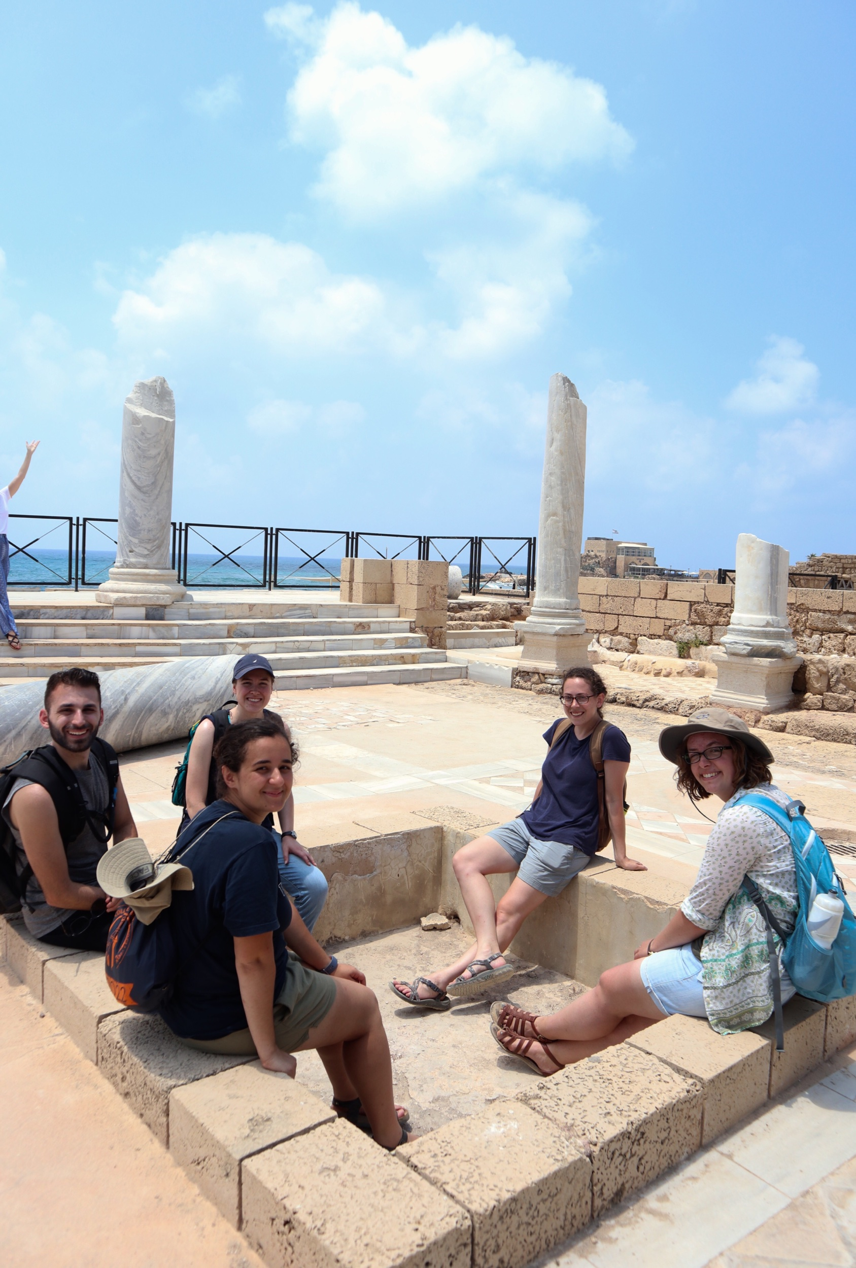 The team takes a break at Caesarea