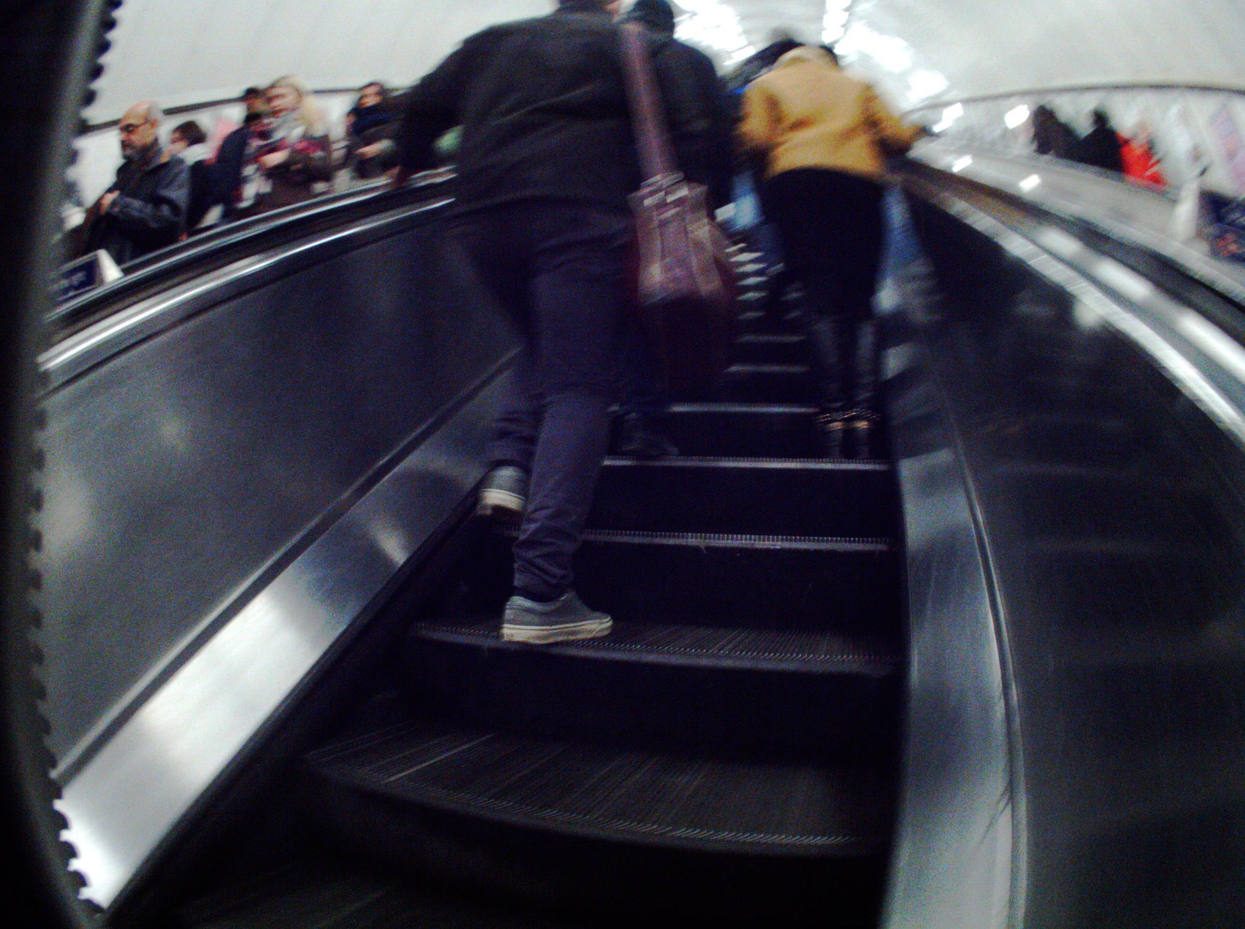 Image 01. Experimenting with methods - Image taken automatically by Autographer on the London Underground escalators, 02 February 2015.