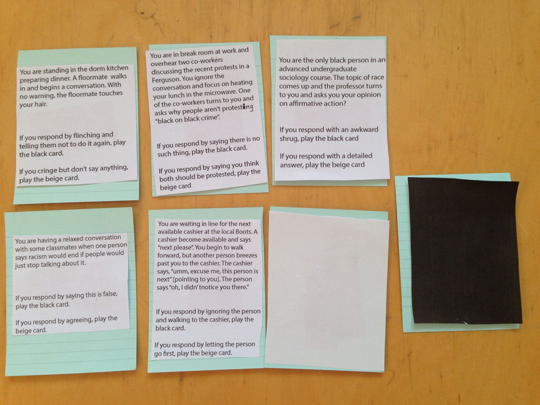 Image 04. Experimenting with methods - situational card game. Documentation photo taken April 2015.