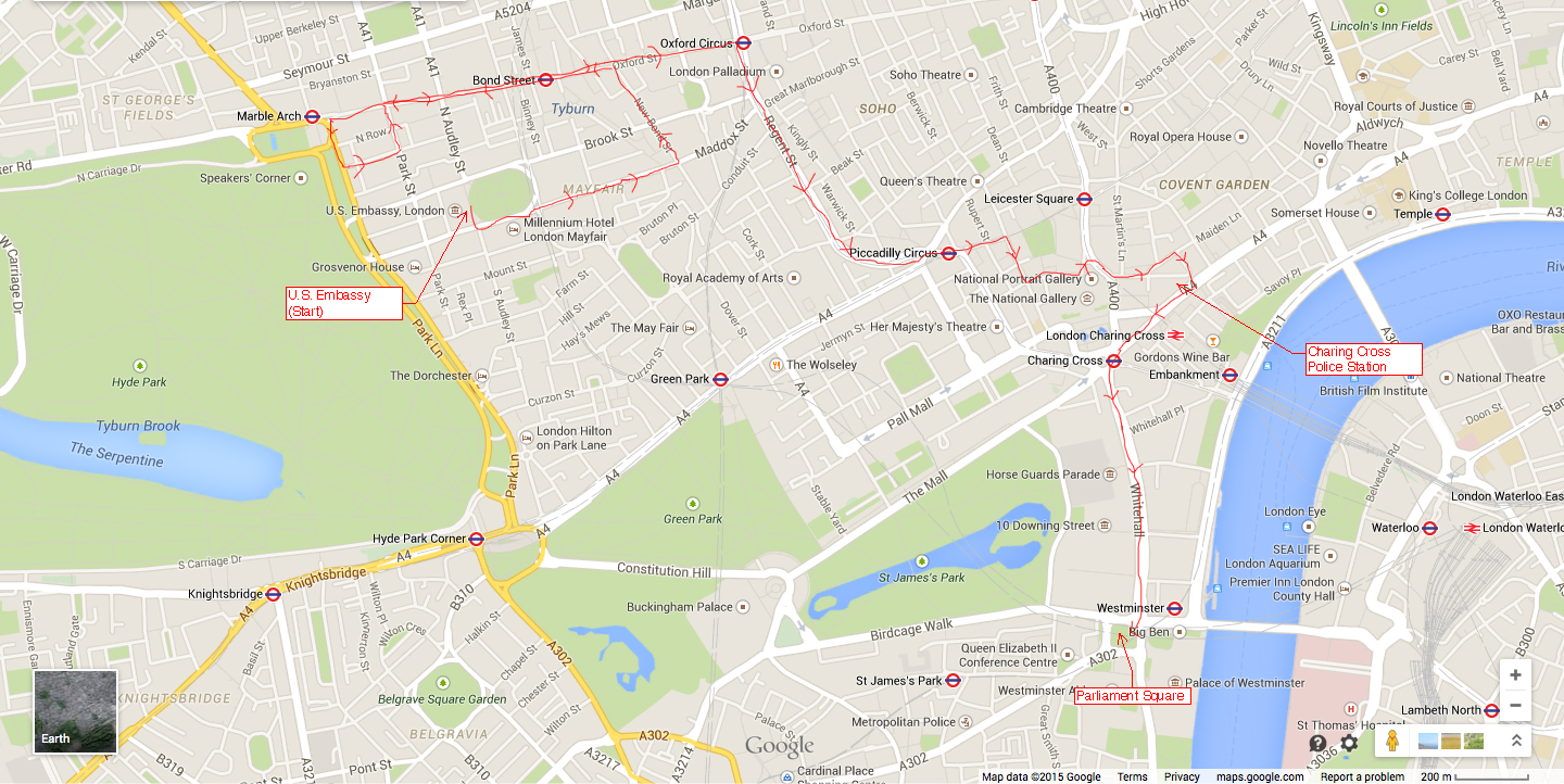 Image 01. The route of the #LondonToFerguson protest held 26 November 2014 outlined in red.