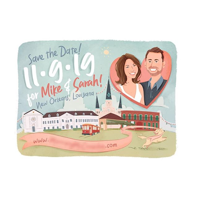Lovely Mike and Sarah's save the date for their New Orleans wedding later in the year!
