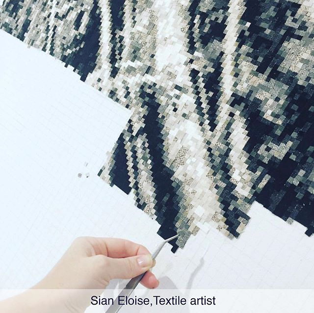 2/3: Sian Eloise @sianeloiseart is a textile artist. Her art practice consists of applying tiny 5mm textile tiles into canvas. Apart from creating the design, she sources the textiles, hand cutting each tiny square by hand + then has the laborious task of creating the artwork, a labour of love. #artandthen #creativestudy