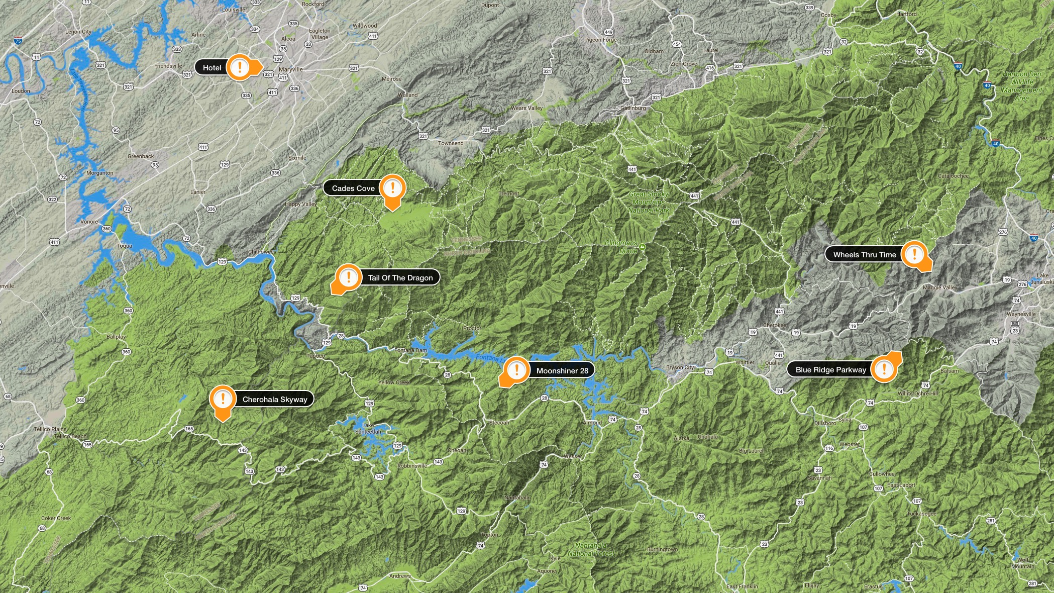 Map of the Smoky Mountains Area with Highlights
