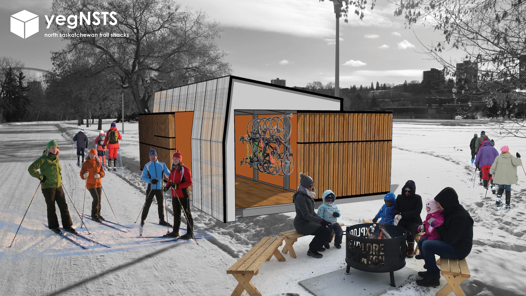 Renderings of possible pavilions. Courtesy of Matt Roper.