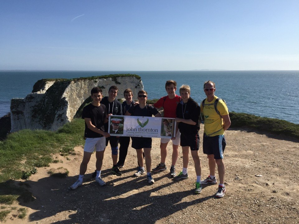 The team at Old Harry's Rocks, 13 miles in.