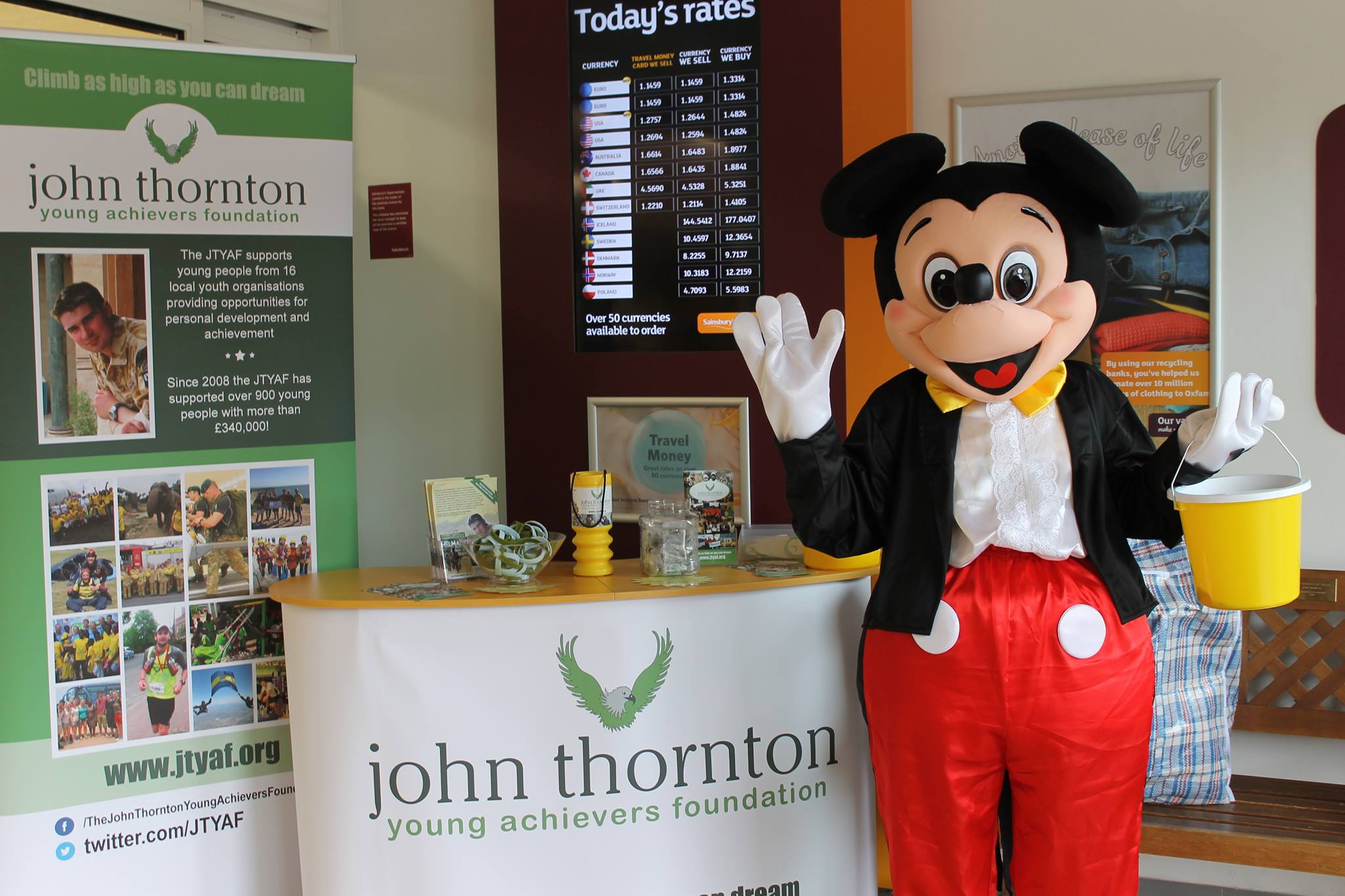 mickey mouse raising funds at sainsury's ferndown!