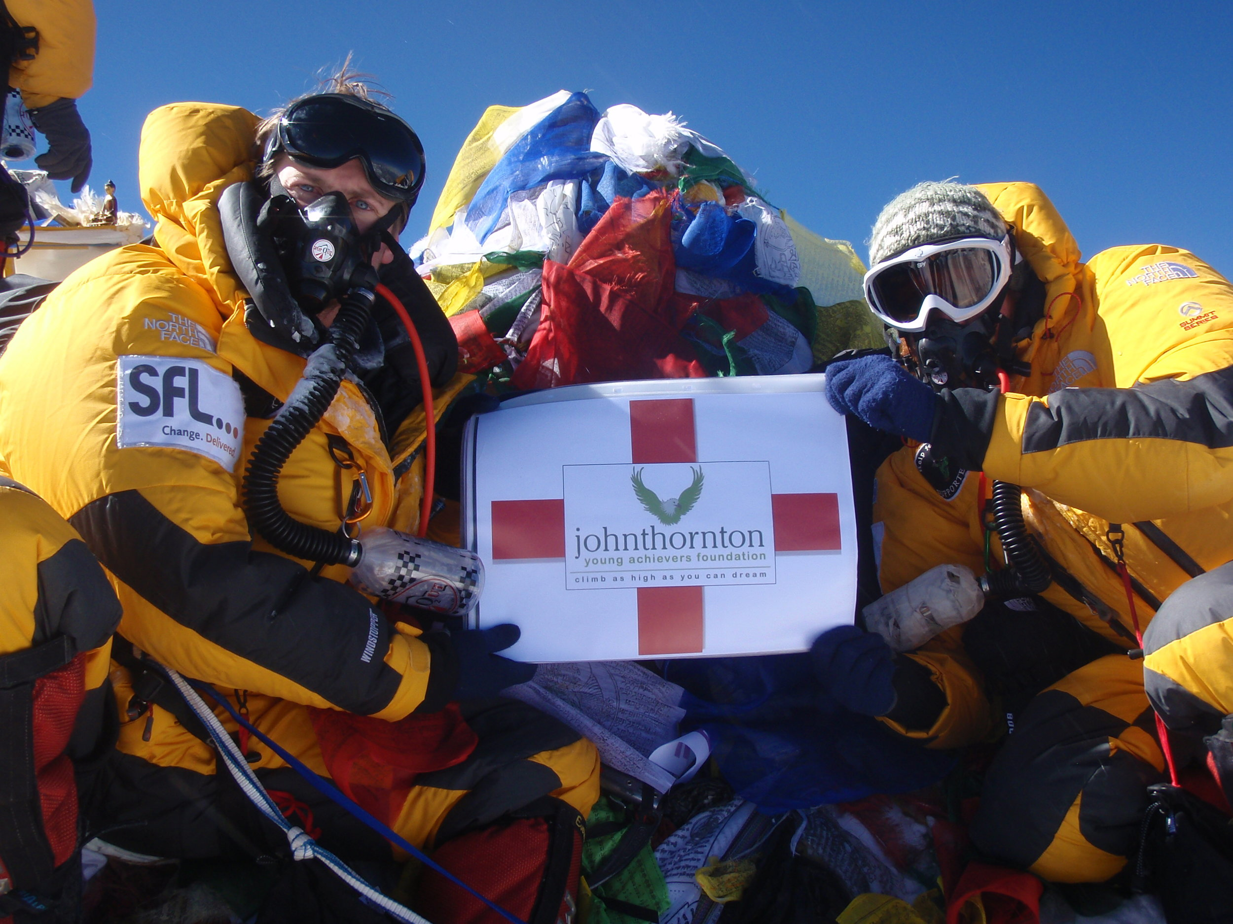 John's good friends, Matt Snook and Pete Sunnucks, on top of the world! They successfully summitted Mount Everest in 2010 raising over £25,000 for the JTYAF and Help for Heroes.