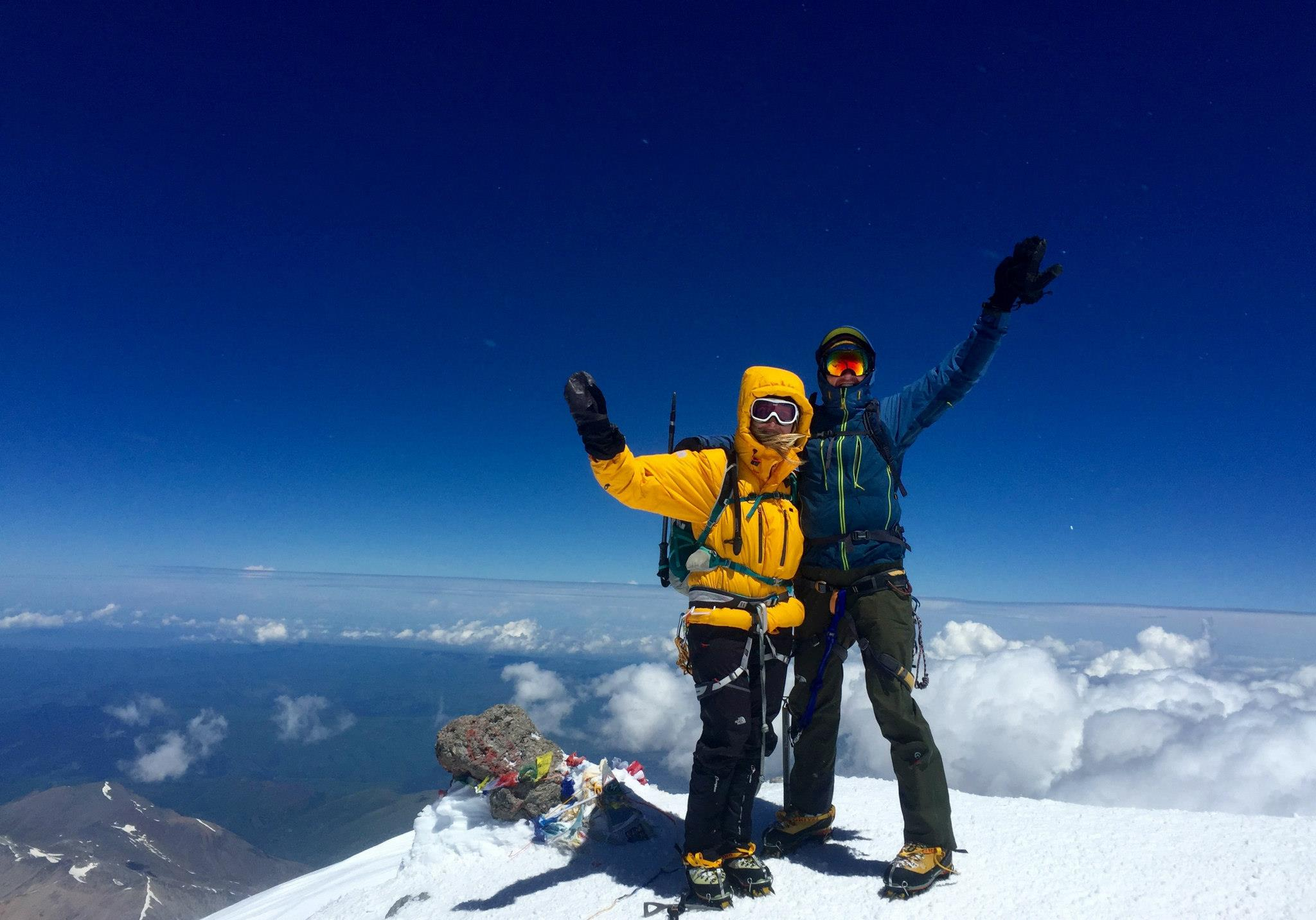 Elizabeth & Pete at the summit of Mount Elbrus - Russia's highest mountain