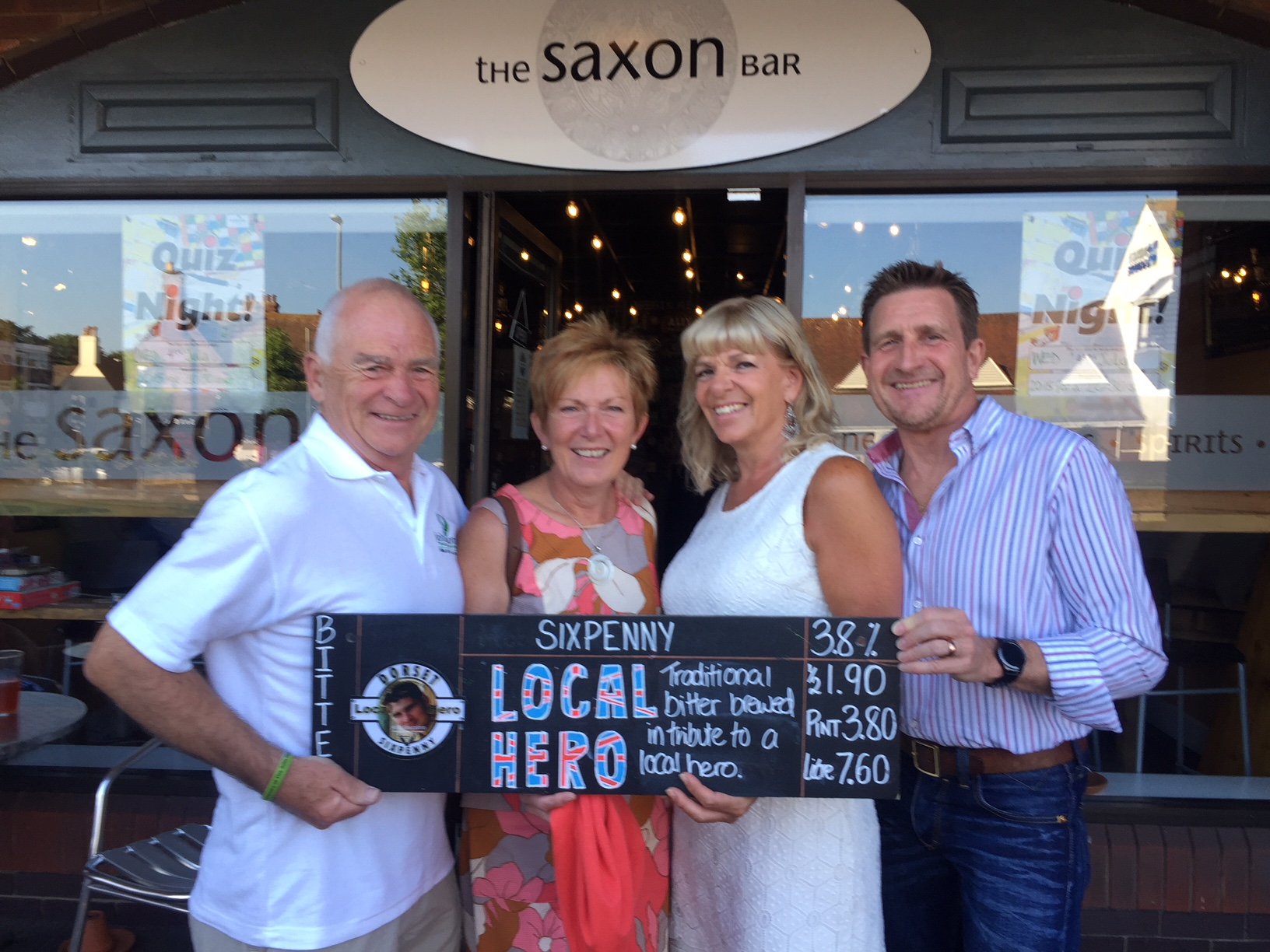 Lee & juliette price (R) with Pete and Linda thornton at the launch of local hero ale