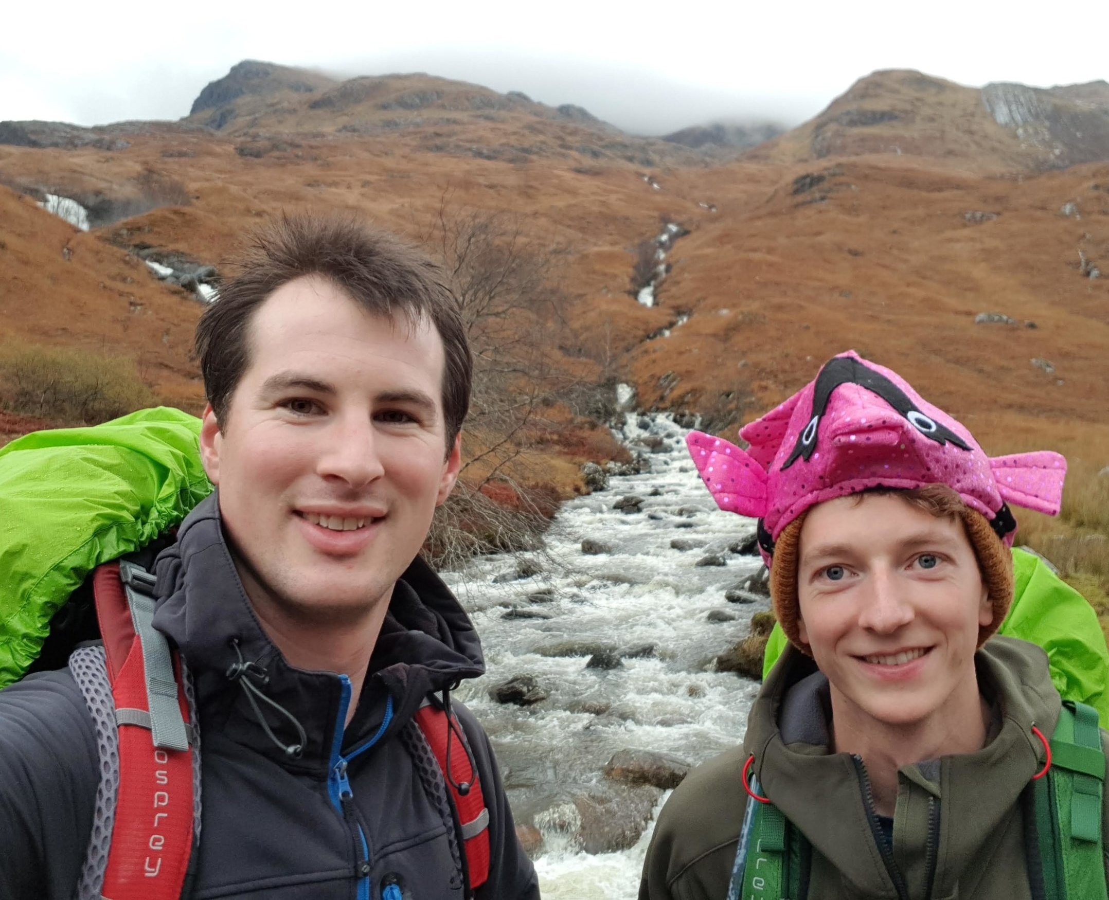 Charlie left & russell right starting their ascent of Aonach beag